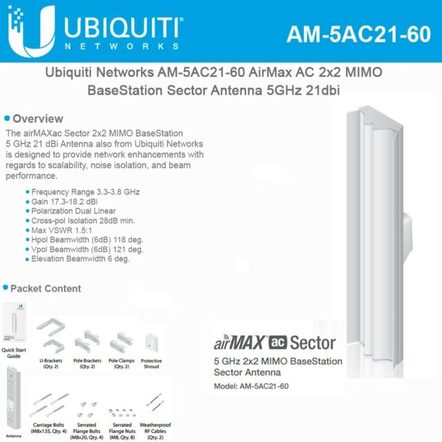 Ubiquiti airMAX 5GHz 2x2 MIMO BaseStation Sector Antenna