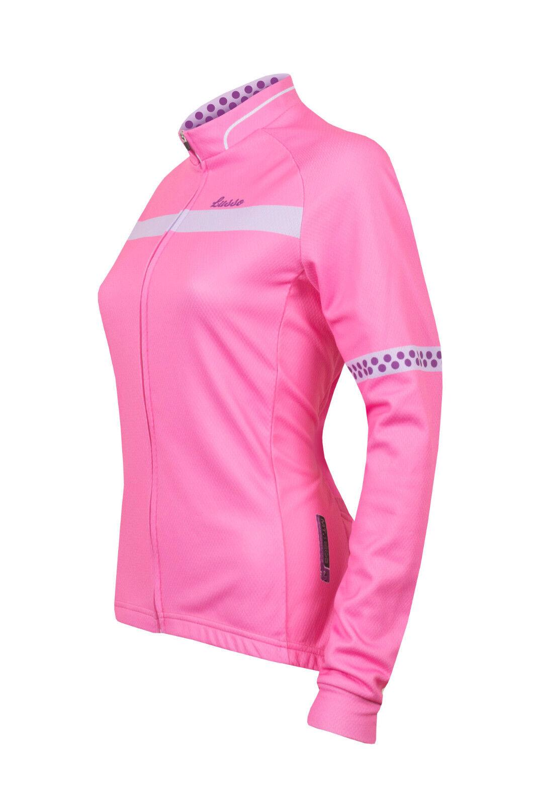 Lusso Layla Women's Long Sleeve Cycling Jersey Pink S-M RRP .99 B.N.W.T