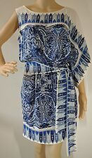BCBG Max Azria Womens Blue Floral Silk Chiffon Draped Shoulder Sleeve Dress Sz S