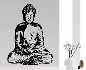 buddha wohnzimmer wellness ruhe asien deko buddhismus wandaufkleber wandtattoo ebay. Black Bedroom Furniture Sets. Home Design Ideas