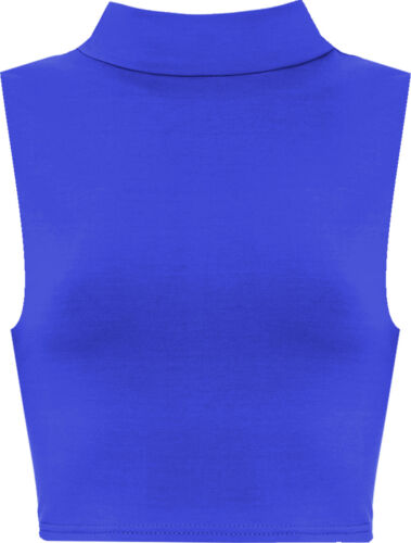 Ladies New Girls Look Sleeveless High Polo Turtle Neck Crop Top Vest Tshirt 8-12
