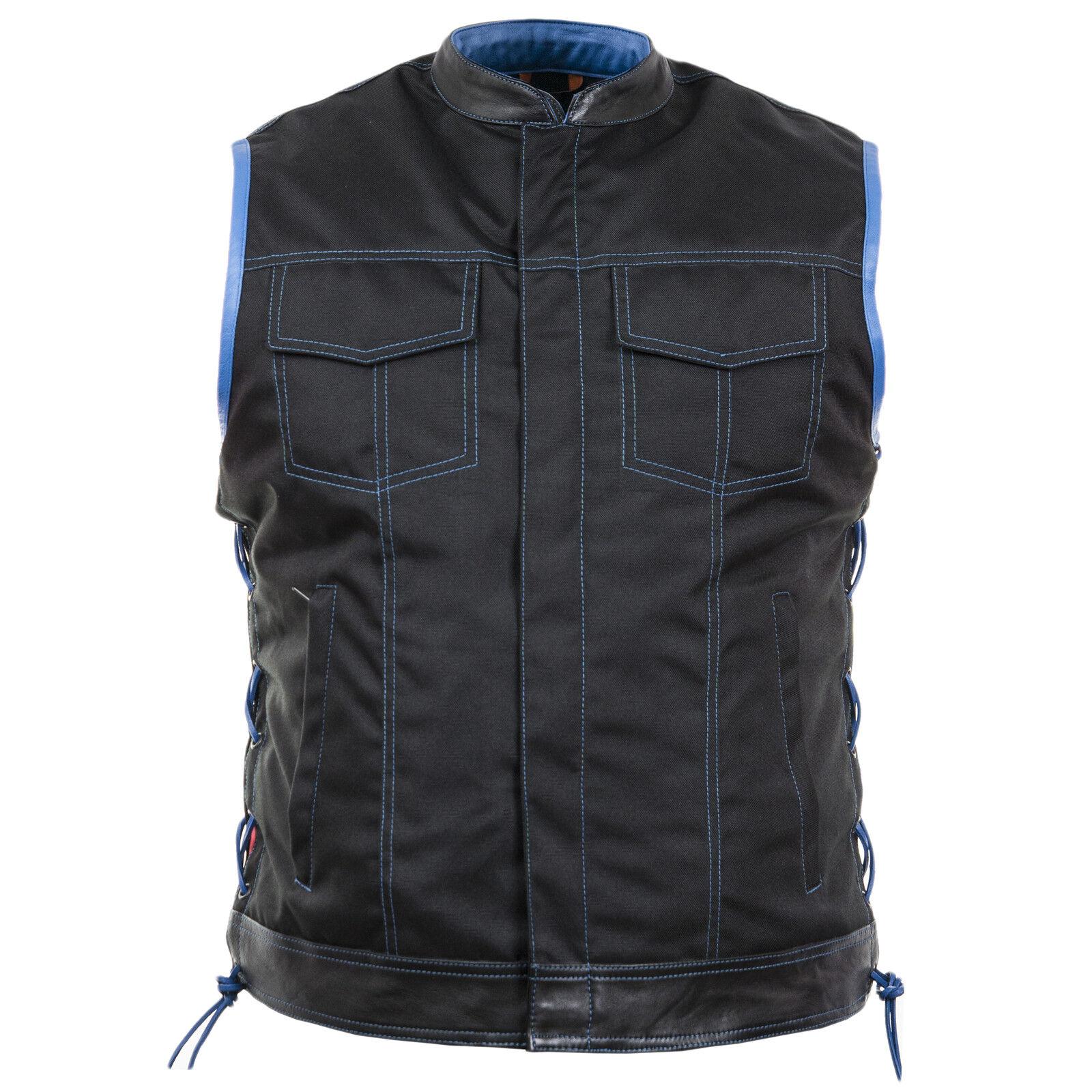 Tan   Textil Weste in schwarz mit blau (Motorrad – Biker – Rocker – Freizeit )