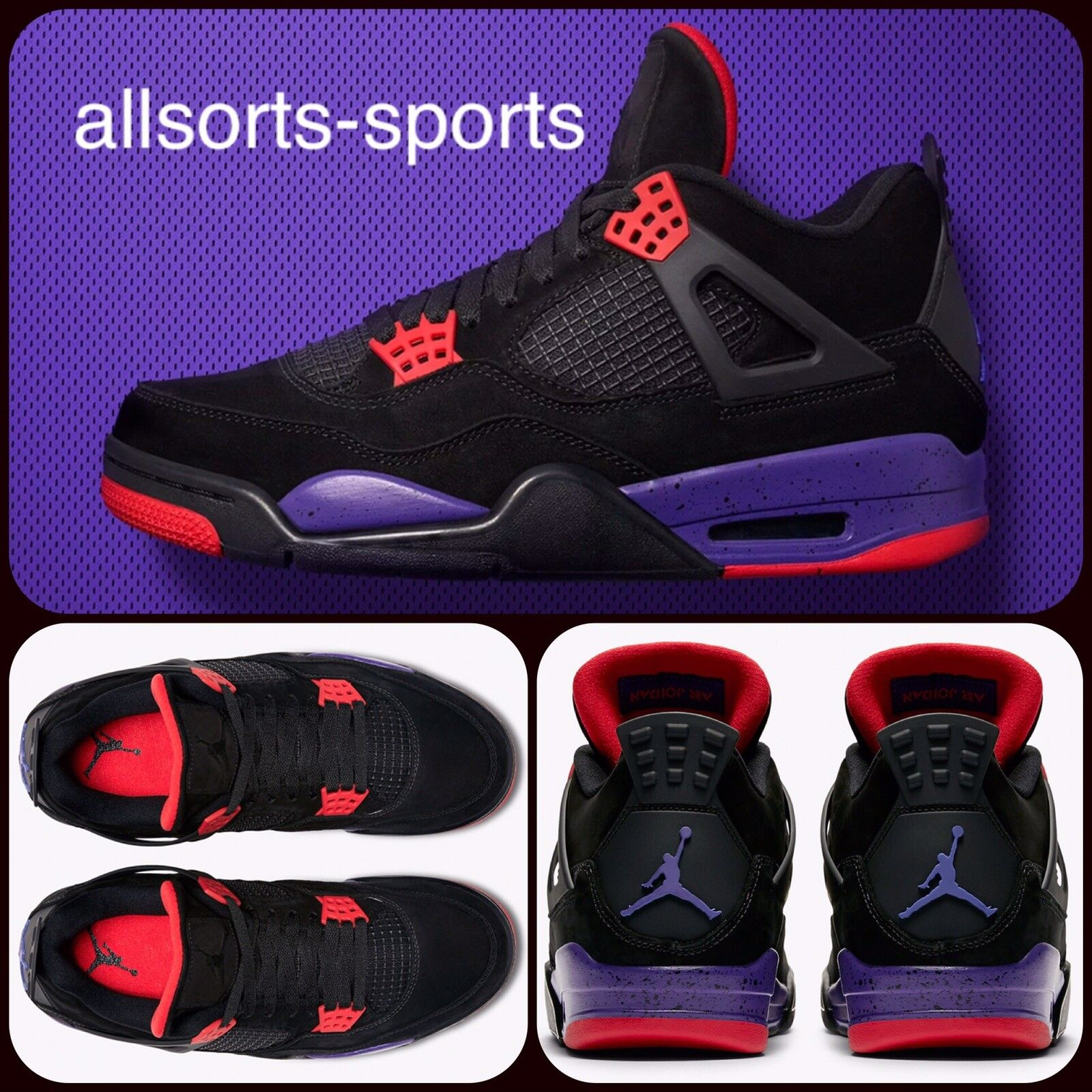"NIKE AIR JORDAN 4 RETRO NRG ""RAPTORS""   UK 11 EU 46   UK 12 EU 47.5   AQ3816 065"