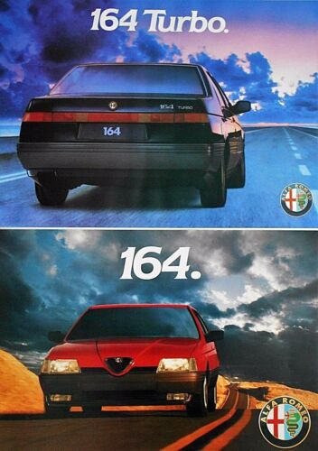 Alfa Romeo 164 Turbo Original Poster Manifesto x 2 Mint Condition 49cm x 34cm