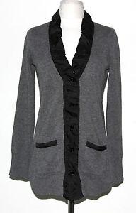 AQUA-Gray-Cashmere-Cardigan-Sweater-Black-Silk-Ruffle-Collar-Trim-Size-XS-5965