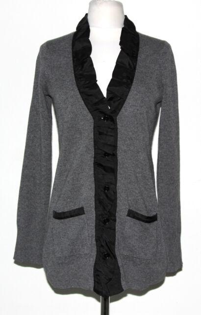 AQUA Gray Cashmere Cardigan Sweater Black Silk Ruffle Collar Trim Size XS /5965