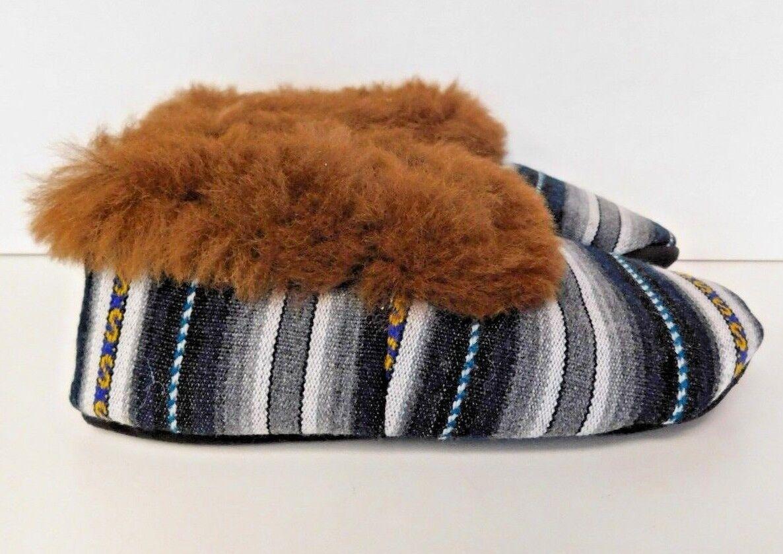 colorful Handmade Peruvian Alpaca Slippers (US Size 9)