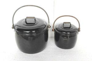 Black-Cooking-Pot-2-Pc-Vintage-Enamel-Ware-Kitchenware-Home-Decor-PY-70