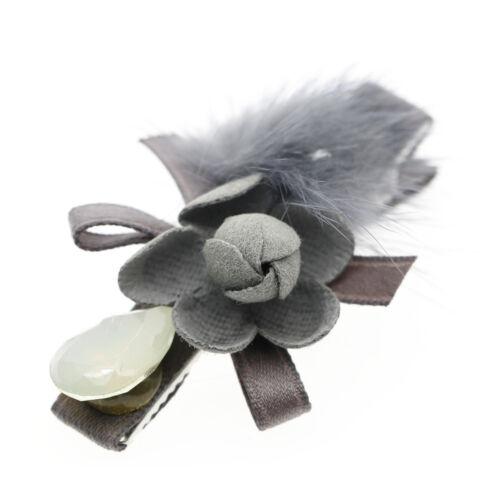 Mignon gris pivoine moelleux pompon bébé fille tête de diapositives pince à cheveux accessoires HA306