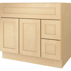 New Bathroom Vanity Drawer Base Cabinet Natural Maple ...
