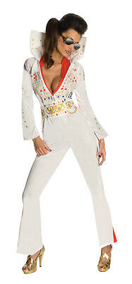 Elvis Presley White Aloha Eagle Jumpsuit Dress Up Halloween Sexy Adult Costume