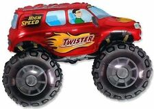 "30"" BALLOON RED TRUCK party FAVORS xxl BIG WHEELs new VHTF birthday GIFT decor"