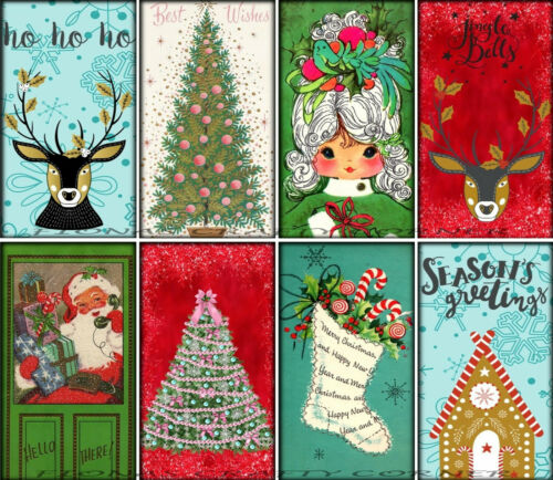 GIFT TAGS FOR SCRAPBOOK PAGES 107 8 CHRISTMAS RETRO TREE JINGLE BELLS HANG