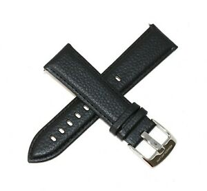 Kenneth-Jay-Lane-22MM-Genuine-Leather-Watch-Strap-8-034-BLACK-w-Stainless-Buckle
