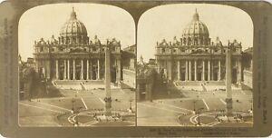 Italia-Roma-Cattedrale-Saint-Pierre-Foto-Stereo-Vintage-Analogica-PL62L2n4