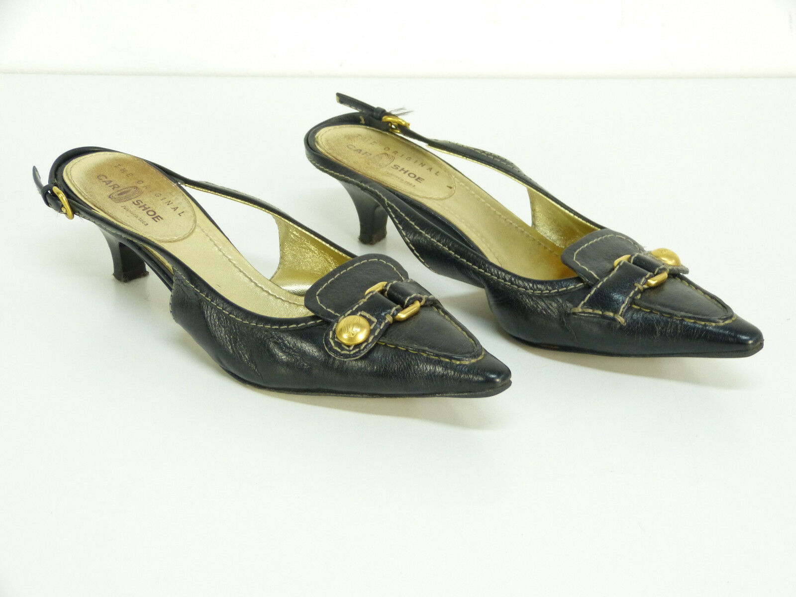 CAR 38,5 SHOE LEDER PUMPS GR 38,5 CAR / SCHWARZ - LUXUS PUR - EDEL     ( L 5824 ) 966047