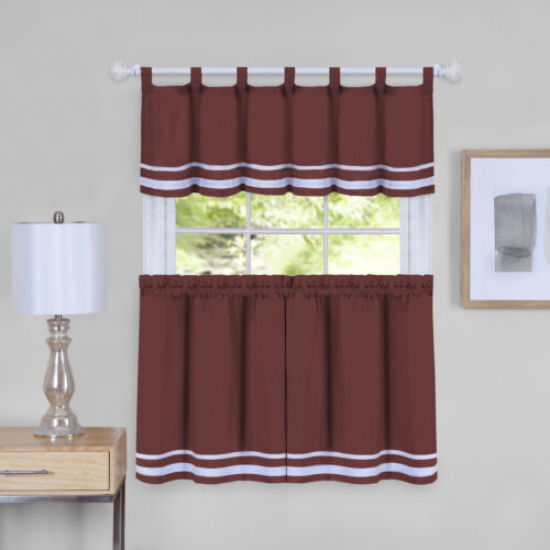 3-Piece Window Kitchen Curtain Cafe Set Panels Solid Stripes Tab Top Valance