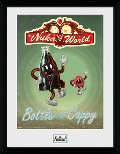 Fallout Bottle and Cappy Mounted /& Framed Print