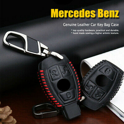 For Mercedes Benz Suede Leather Car Key Holder Key Chain Ring Case Cover Fob Bag