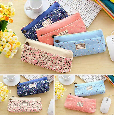 Double zipper cosmetic Canvas bag Students stationery pen bag pencil bags US1 SP