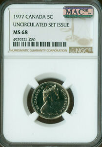 1977-CANADA-5-CENTS-NGC-MAC-MS-68-PQ-2nd-FINEST-GRADED-SPOTLESS