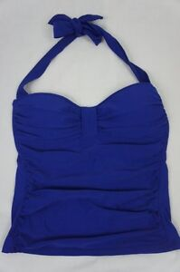 Tommy-Bahama-Tankini-Top-Sz-XS-Blue-Ruched-Bandeau-Halter-Top-Swimwear-TSW36413T