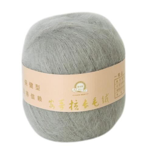 2x Skein 50g Luxury Fluffy Angola Mohair Cashmere Knitting Wool Yarn Gray