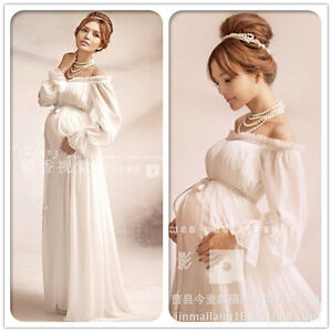 Image Is Loading White Elegant Lace Maternity Dress Photography Props Long