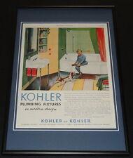 1953 Kohler Plumbing Fixture Framed ORIGINAL 12x18 Vintage Advertisement Display