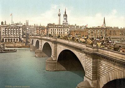 "London Bridge PS13 Vintage 1890/'s Photochrom Photo Print A3 17/""x12/"""