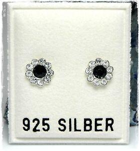 NEU-925-Silber-OHRSTECKER-Blume-SWAROVSKI-STEINE-jet-schwarz-klar-OHRRINGE