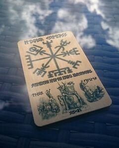 Stainless Steel Vegvisir Viking Rune Symbol Slim Wallet Cash Card Money Clip