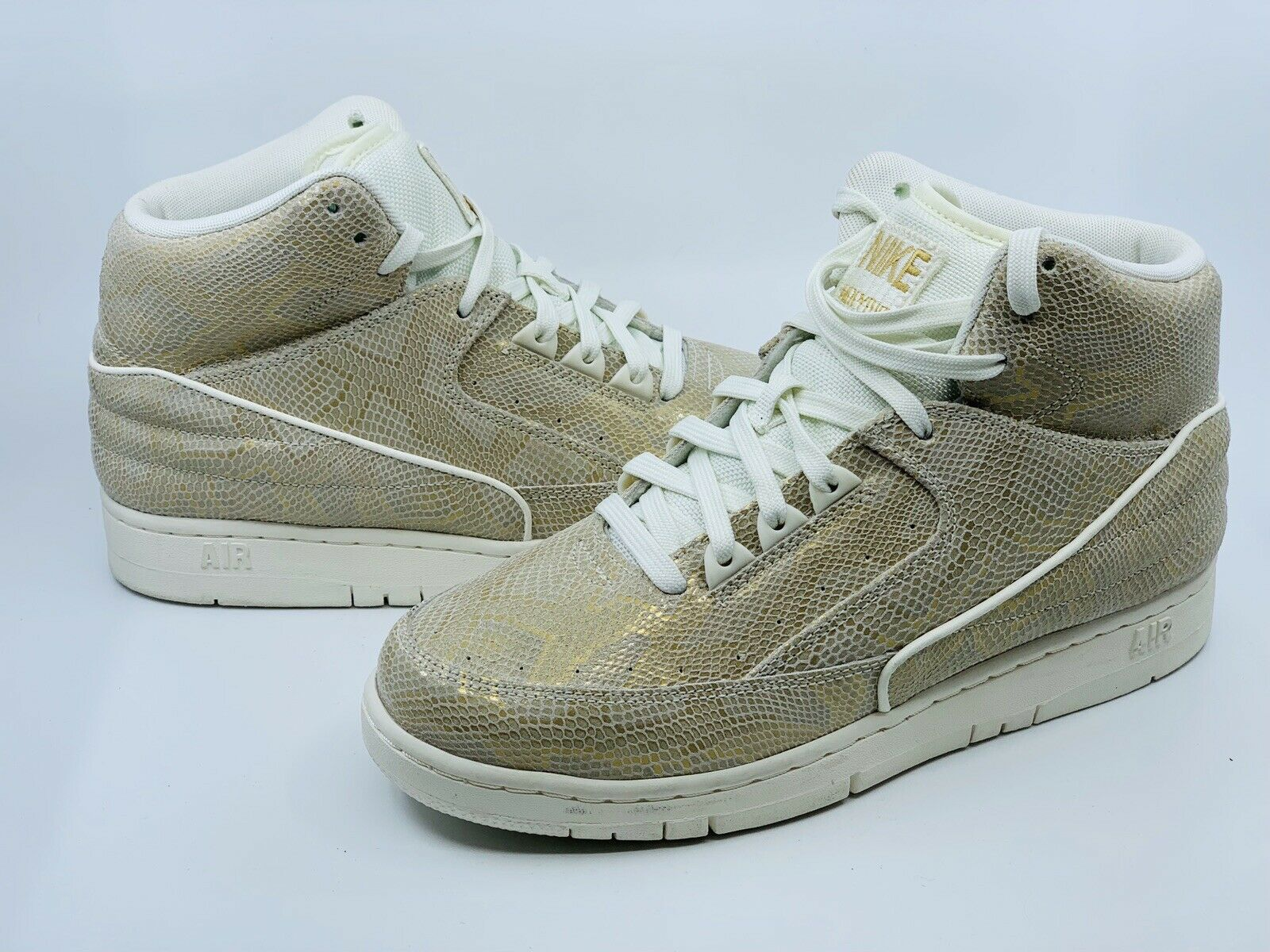 new product 37d6f fdadd Nike Air Men s Men s Men s Python Premium Sail gold Snakeskin shoes 705066-102  Sz 8