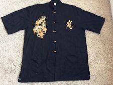 Chinese Kung Fu Shirt XXXL Black Embroidered  DRAGON WARRIOR 100% Cotton STYLISH