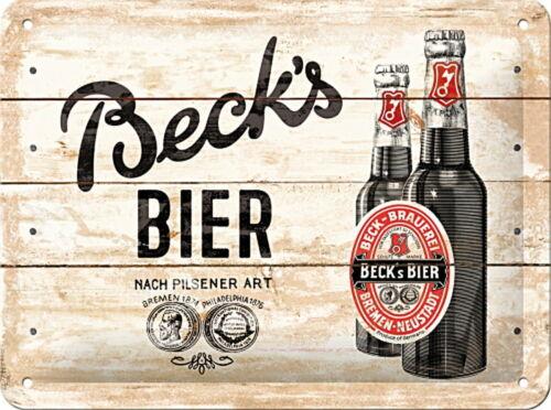 20 x 15 cm Bottles Light Wood Blechschild Becks gewölbt /& geprägt
