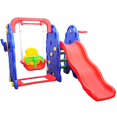 Kids Children Playground 3in1 Swing Chair Slide Basketball Hoop Play Toy Center