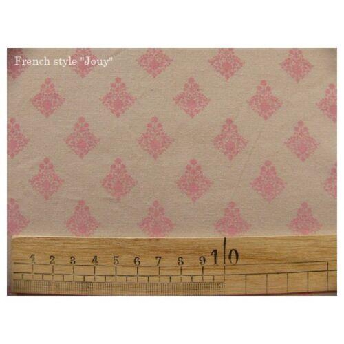 tissu coupon RATNA rose fond beige par 50cm