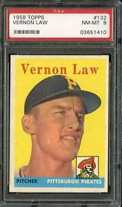 1958 TOPPS #132 VERN LAW PSA 8 PIRATES  *DS9350