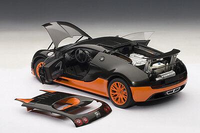Autoart Bugatti Veyron Super Sport World Record Black Orange 1 18 Le 1000 Rare Ebay