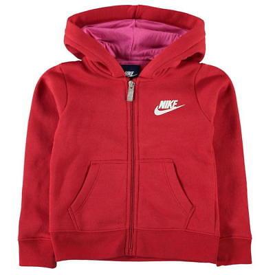 Nike Girls Club Full Zip Hoodie Junior Hooded Top Jacket Red   eBay