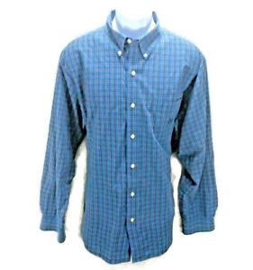 Chaps-Easy-Care-Shirt-Mens-Size-XXL-Blue-Plaid-Long-Sleeve-Button-Front