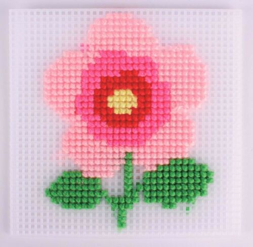 MegaCrea DIY Canevas à broder kit enfant Fleur 13,5 x 14 cm