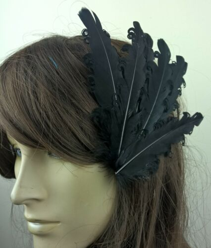 black feather fascinator millinery hair clip wedding piece ascot race dance x