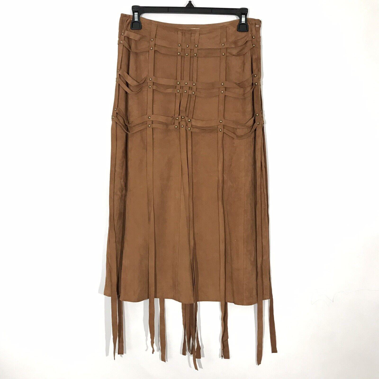 Haute Hippie Womens Goat Suede Pencil Skirt Size 2 Brown Plaid Harness