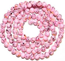 """G2327t Light Pink 8mm Round Graffiti Splatter Drawbench Opaque Glass Beads 32"""""""