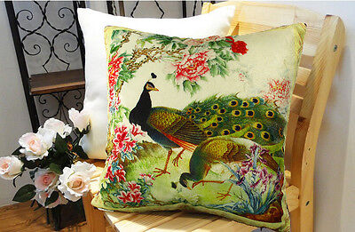 Decorative Velvet Peacock Pillow Cushion Cover Double Sides Artwork