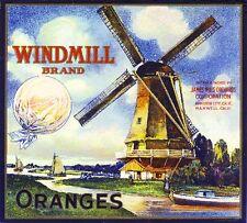 GREEN MILL ORANGE CRATE LABEL PLACENTIA DUTCH WINDMILL ORIGINAL 1940S VINTAGE