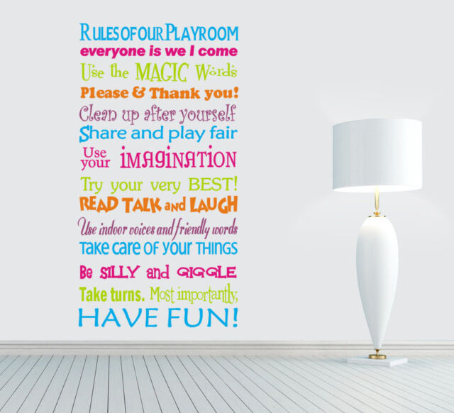 wall stickers Playroom Rules family Decal Removable Art Vinyl Decor Home Kids