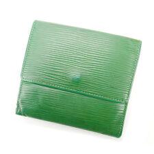 Auth Louis Vuitton W Hock Wallet Epi unisexused J5525