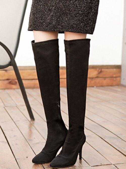 Stiefel Schuhe Stilett 9 cm Bein Schenkel Schwarzes Leder Kunststoff Cw958